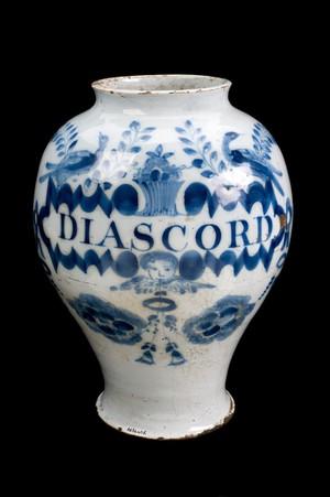 view Drug jar for Water Germander electuary, England, 1720-1780