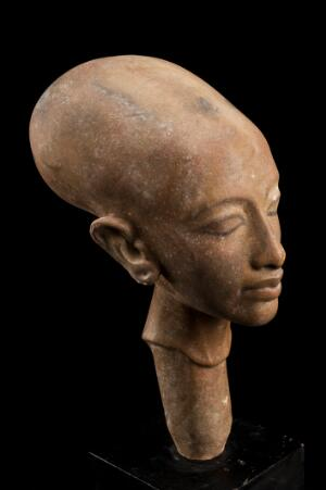 view Copy of a statue showing a deformed cranium, Cairo, Egypt, 1