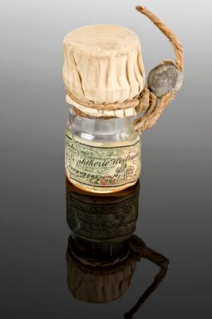 view Bottle of Behring's diphtheria remedy, Germany, 1914-1918
