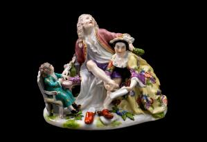 view State showing a person with gout and his family, Meissen, Ge