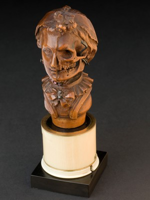 view Wooden memento mori of a woman, Italy