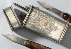 view Six lancets, steel blade, in tortoiseshell sheath, various makers, in silver case, English, 1750-1850. Top detail view. Grey background.