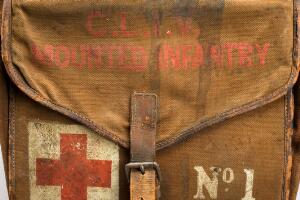 view Saddle-bag first aid kit, pair of canvas panniers linked by rubber band, containing dressings, tablets and ointments, many prepared by Burroughs Wellcome and Co., English, 1914-1918. Detail of saddle opeing.