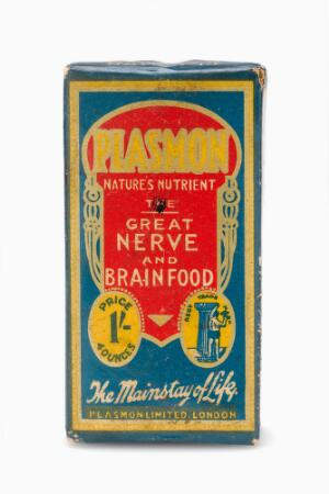 view Paper-cardboard box containing 4oz of Plasmon, 'pure, soluble, digestible milk protein powder', a tonic drink, made by Plasmon Ltd. of London, 1900-1950. 'The great nerve and brain food'. Front view. White background