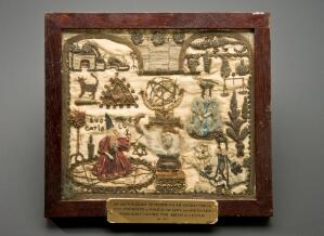 view Embroidered illustration of an astrologer's prediction, Engl