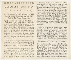 view Trade card for James Mann, optician, London, England, 1706-1756