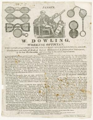 view Trade card for William Dowling, optician and instrument maker, London, England, 1822-1830