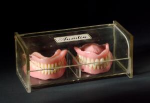 view Two sets of acrylic dentures, England, 1955-1965.