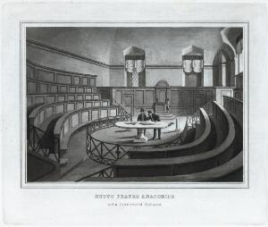 view Engraving of the New Anatomy Theatre at the University of Ro