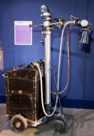 view Mobile x-ray machine for use on hospital wards, England, 194