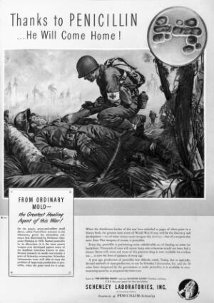 view Advertisement for penicillin production from Life magazine,