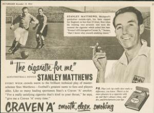 view Advertisment for Craven 'A' cigarettes featuring Stanley Mat