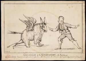 view Joseph Grimaldi dressed as a Red Indian points to a pantomime creature in a scene from the pantomime, Red Dwarf. Etching by W. Heath, ca. 1811.