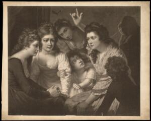 view A lady telling a gripping story to young women and children. Mezzotint by V. Green, 1785, after J. Opie.