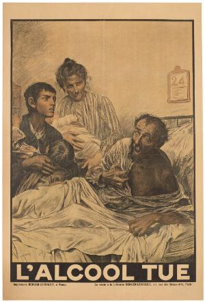 view An alcoholic man with delirium tremens on his deathbed, surrounded by his terrified family. Colour lithograph after E. Burnand, ca. 1900 (?).