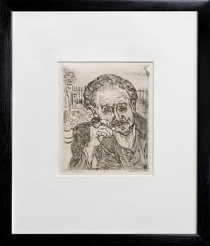 view Paul Ferdinand Gachet. Etching by V. van Gogh, 1890.