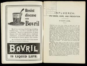 view 'Bovril is Liquid Life' advert and preface 'Son's Influenza'