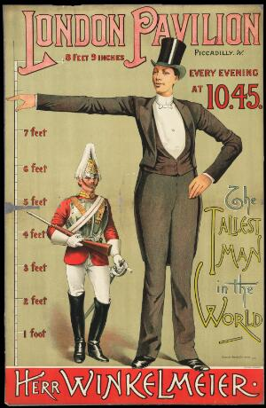 view Poster advertising the tallest man in the world