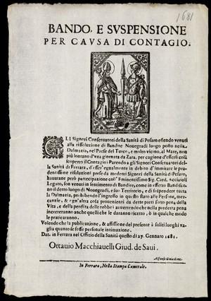 view Ferraran poster/leaflet regarding plague precautions