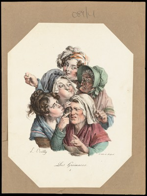 view A woman examines another woman's sore eye, while other women look on. Colour lithograph after L. Boilly, 1827.