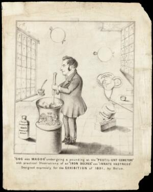 view Sir John Simon (?) in his role as the first Medical Officer of Health for the City of London putting pressure on the Corporation of London to act upon the pestilential conditions of the graveyards in the City. Lithograph by Bolus, 1851.