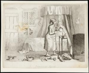 view A man in bedclothes prising insects (?) off his bed-curtains with a fork into a saucepan. Etching by T.L. Busby, ca. 1826.