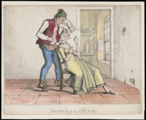 view A shopkeeper sews up his wife's mouth to stop her from nagging. Coloured etching by T.L. Busby, ca. 1826.