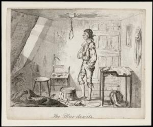view A poor depressed man prepares to hang himself in a noose attached to the ceiling. Etching by T.L. Busby, ca. 1826.