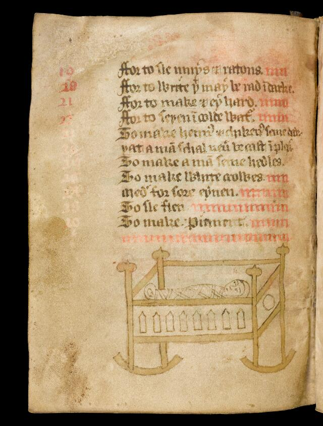 Recipe for delivering a still-born child, image is of a child in a cradle. Collection of medical recipes [written in the area of Worcestershire, first quarter of the 15th century]. Coloured drawings serve as extravagant decoration for the catchwords. Folio 7, verso.