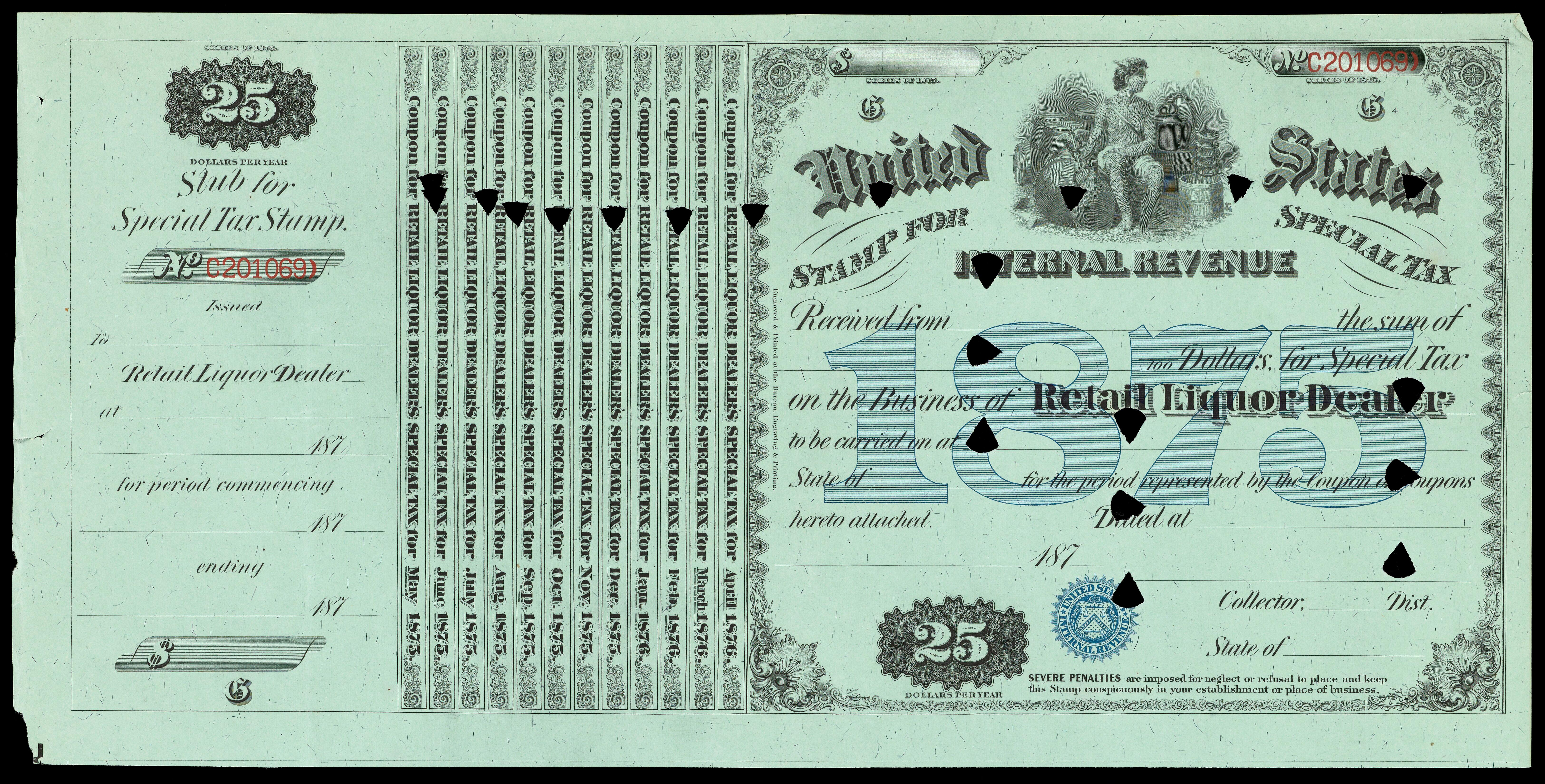 United States Internal Revenue Stamp For Special Tax Received From