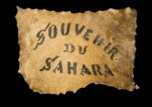 view Human skin, tattooed with inscription, France, 1830-1900