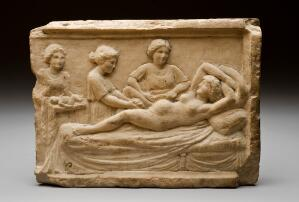 view Marble plaque showing parturition scene, Ostia, Italy.
