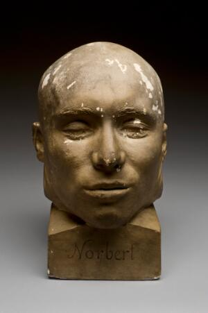 view Painted plaster head representing French criminal Norbert af