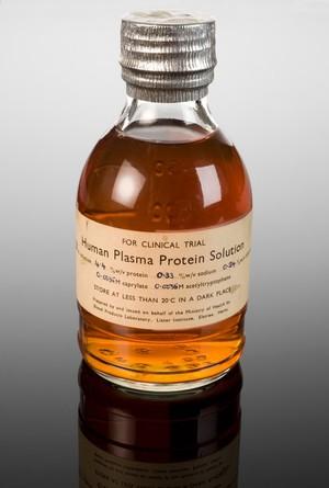 view Human plasma protein solution in bottle, Hertfordshire, Engl