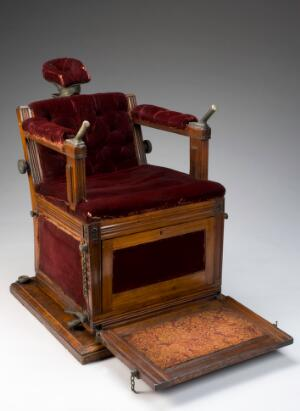 view Electrotherapeutic chair, London, England, 1890-1900.