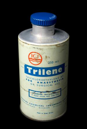 view Bottle of trichloroethylene, England, 1940-1960