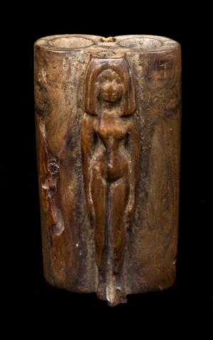 view Double wooden kohl tube, Egypt (?), 100B CE-400 CE