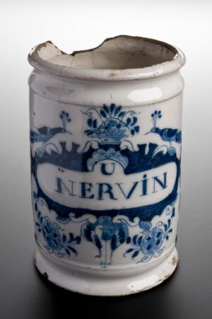 view Pharmacy jar, used for nerve ointment, The Netherlands, 1730