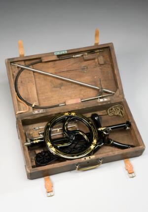 view Dental treadle drill. C. Ash and Son, 1890-1915.
