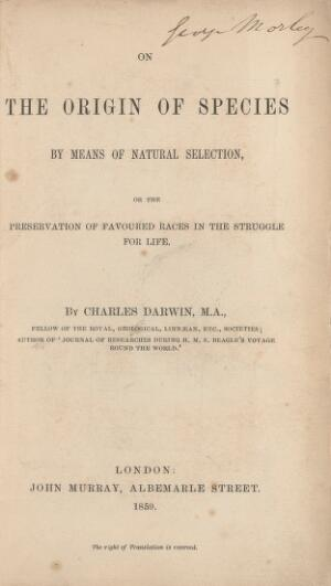 view The Origin of the Species, by Charles Darwin