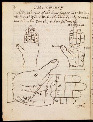 view Illustration of 3 hands in Chyromancy