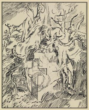 view Visions of a schizophrenic: the trunk of an ancient tree is consumed by fire, while a cross stands firm. Drawing by T. Hennell, ca. 1935.
