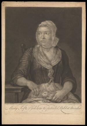 view Mary Toft (Tofts). Mezzotint by J. Faber, 1726/1727, after J. Laguerre.