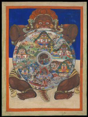 view Yama holding the Bhavacakra or Wheel of life. Gouache.