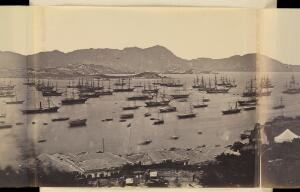 view Hong Kong: panoramic view. Photograph by Felice Beato, 1860.