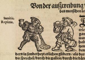 view Woodcut of drinking and vomiting