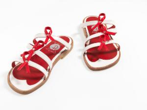 view Red and white sandals - HIV / AIDS awareness