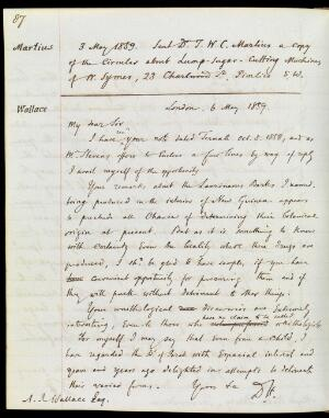 view Letter from Daniel Hanbury to Alfred Russel Wallace.