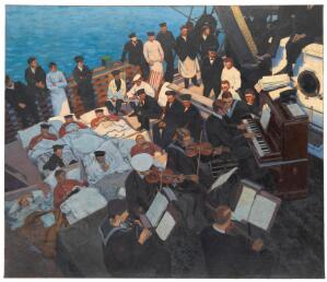 view World War I: wounded sailors listening to musicians...