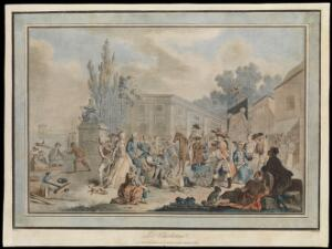 view A public square in a French port, in which a medicine vendor cries up his wares to an audience of traders and strollers. Coloured aquatint by J. Léveillé, 1785, after A. Borel.
